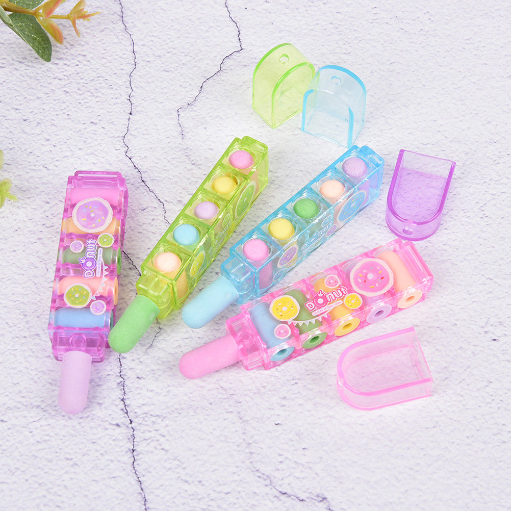 Creative Lovely Bullet Rubber Eraser Can Replace Type Children Art Drawing School Supplies Stationery Size:8*2cm