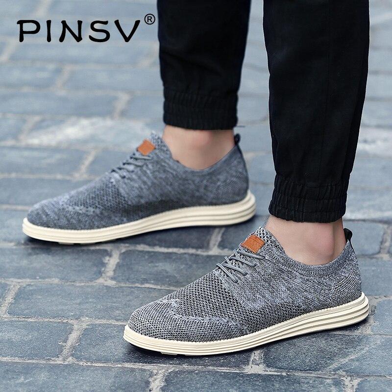 PINSV 2019 Summer Vintage Men Casual Shoes Breathable Business Formal Brogue Weave Carved Oxfords Wedding Dress