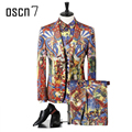 OSCN7 Slim Fit Suit Men Brand Notch Lapel Plus Size Floral Printed Stage 3pcs Suits Set 2017 Latest Coat Pant Designs Low Price