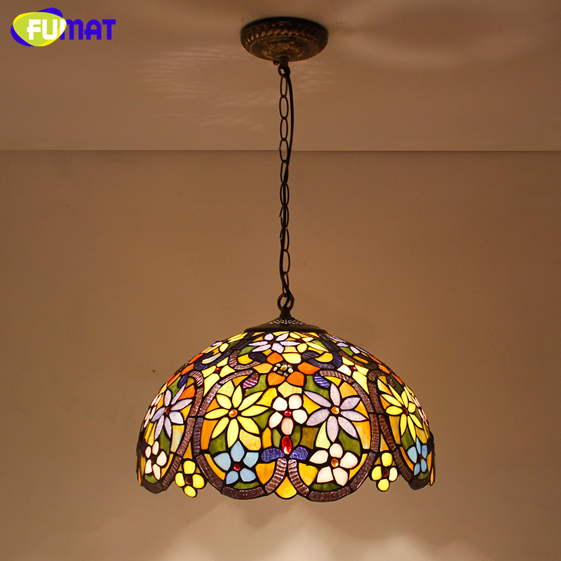FUMAT Stained Glass Light European Style Art Glass shade Pendant Lights Living Room  Kitchen Lightings Warm White Pendant Lights fumat stained glass pendant lamps european style glass lamp for living room dining room baroque glass art pendant lights led
