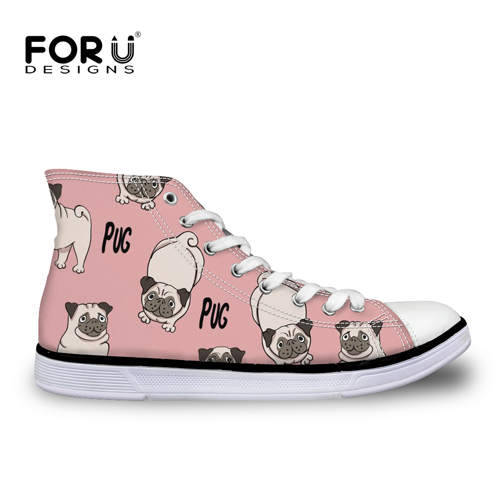 FORUDESIGNS Women Vulcanize Shoes French Bulldog Pug Print Lace-up Flat Shoes for Teenager Girls Stylish High-top Canvas Shoes аккумуляторная дрель шуруповерт bort bab 10 8nx2li fdk