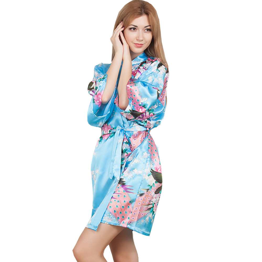 New Wedding Bride Bridesmaid Robe Floral Bathrobe Short Kimono Night Robe Bath Robe Fashion Dressing Gown For Women One Size T07
