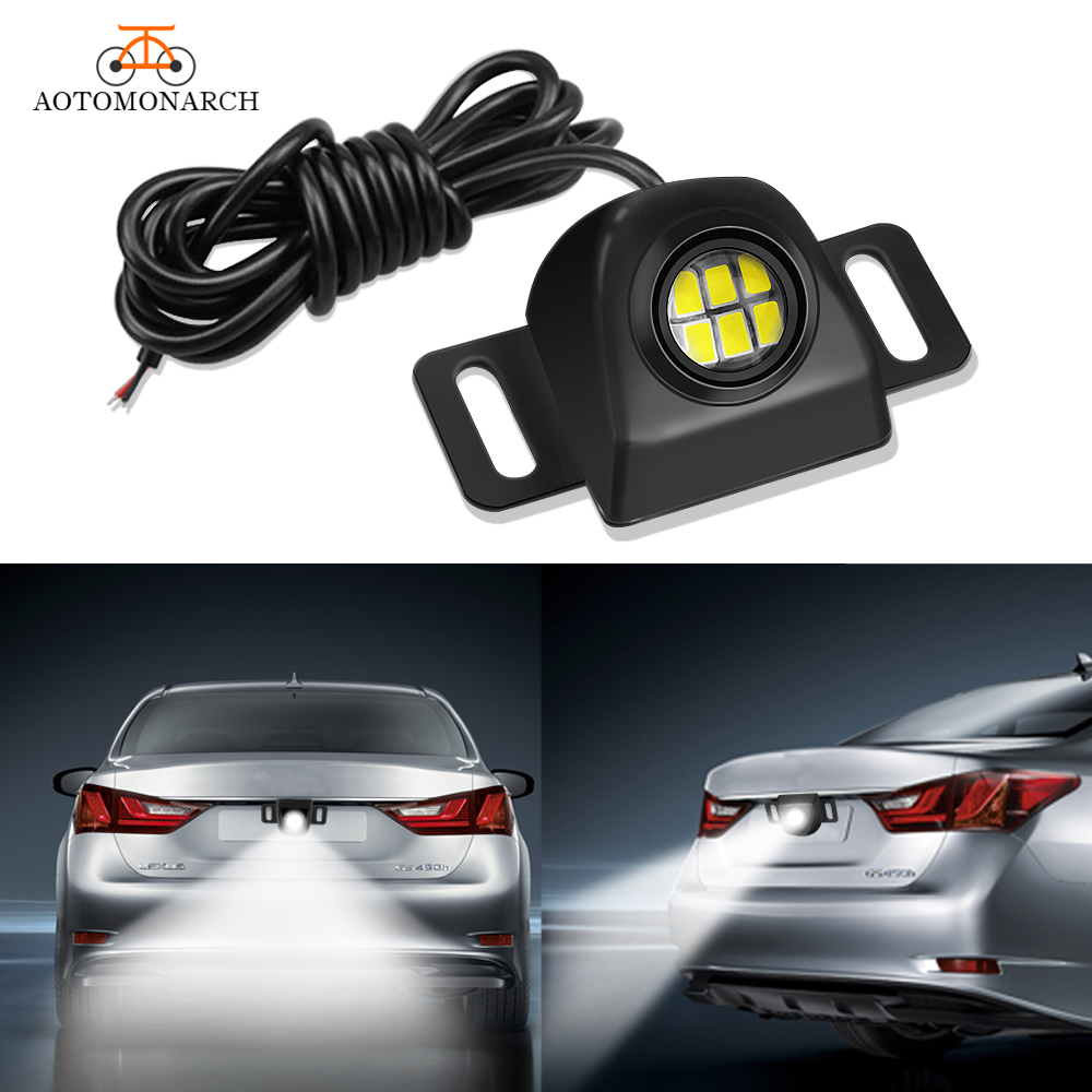 AOTOMONARCH Mini Auxiliary Reverse Light Bulb LED backup Camera Illumination System Waterproof Car Styling Accessories 6000K CE in Signal Lamp from Automobiles Motorcycles