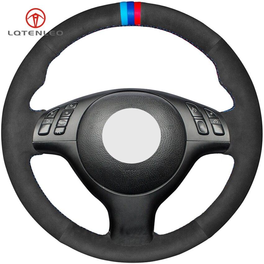 LQTENLEO Black Suede DIY Hand stitched Car Steering Wheel Cover for BMW E46 E39 330i 540i