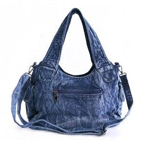 Image 3 - IPinee 브랜드 여성 가방 2020 패션 데님 핸드백 여성 청바지 어깨 가방 직조 디자인 여성 토트 백