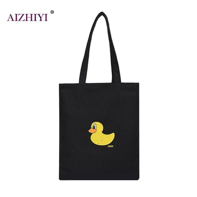 74d2651dc6 2018 Fashion Plain Black Women Canvas Shoulder Bag Girls Zipper Shopping  Casual Handbag Lovely Cartoon Cat Duck Printing Pattern