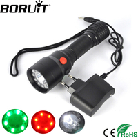 BORUiT 1200LM 12 RBG LED XML R5 Flashlight 4 Mode Rechargeable Torch Camping Flash Light Hunting