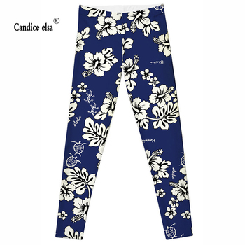 CANDICE ELSA sexy fitness women leggings white flowers printed leggins elastic female pants size range S-4XL plus