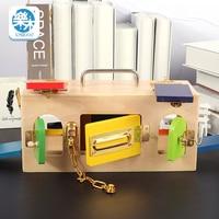 Montessori wooden lock box early childhood education preschool education baby unlock box kindergarten intelligent teaching tools