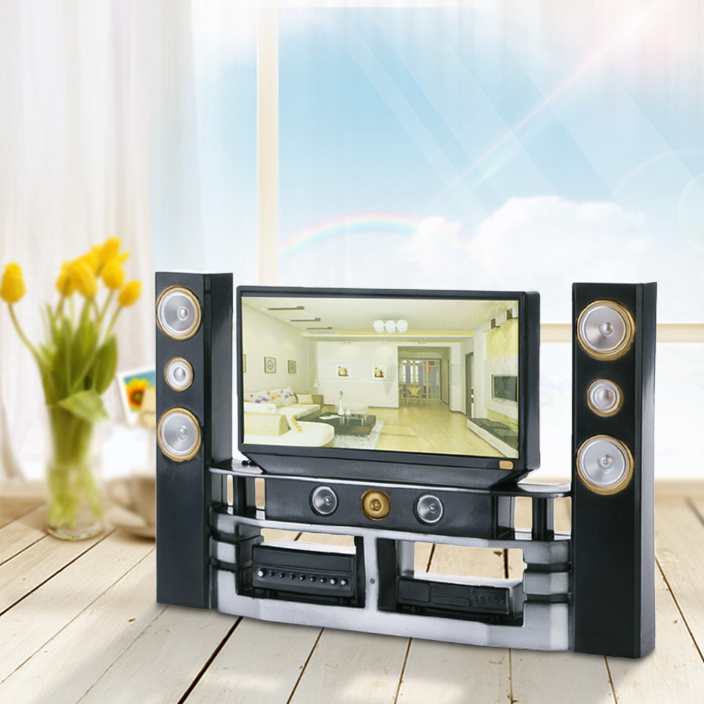 Hot Kid Dollhouse Furniture Accessories TV Theatre Set Outfit For Doll-TwFi