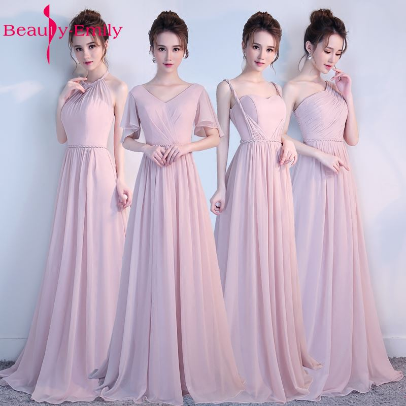 Beauty-Emily Chiffon Pink   Bridesmaid     Dresses   2017 Lace Up A-Line Long Party Homecoming Party Prom   Dresses