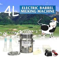 4L Stainless Steel Durable Cattle Sheep Portable Milking Machine with Vacuum Pump Pulsator Electric Milking Machine