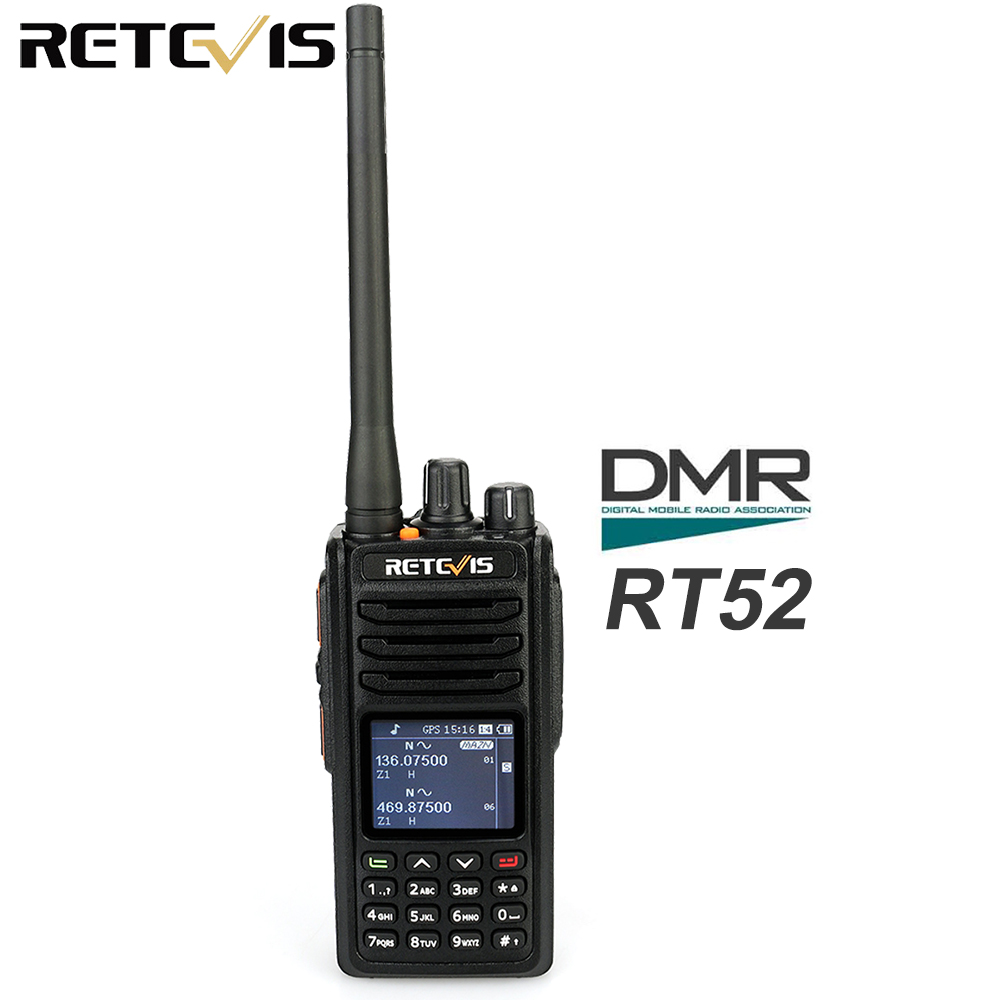 Retevis RT52 Digital Dual Band GPS DMR Radio Walkie Talkie VHF UHF Dual PTT Up to 4000 Channels Two Way Radio PortableRetevis RT52 Digital Dual Band GPS DMR Radio Walkie Talkie VHF UHF Dual PTT Up to 4000 Channels Two Way Radio Portable