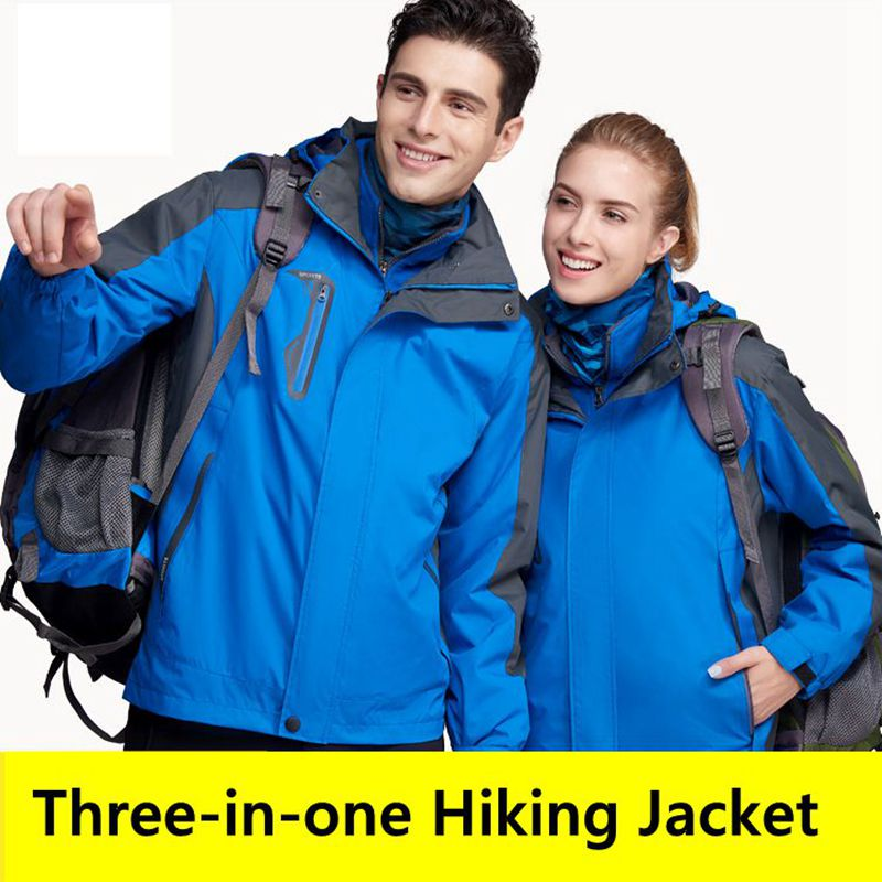 2018 Autumn Winter Men Women Fleece Hiking Jacket Outdoor Camping Climbing Coat Waterproof Windproof Warm three in one Jacket super thick thermal fleece warm man winter jacket waterproof windproof jacket skiing snowboarding climbing hiking camping jacket