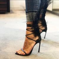 Sandalias Mujer 2018 Black Feather Decor Cross Strappy Sandals Cut out Black Leather Shoes Thin Heels Banquet Shoes