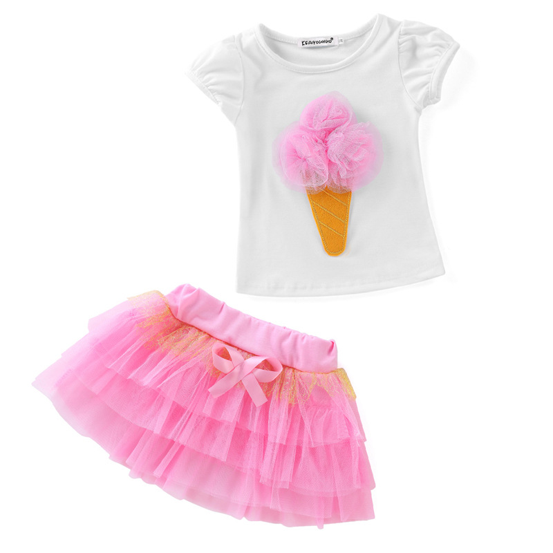 Children Girls Clothing 2017 Kids Outfits Baby Girls Summer Suit Girls Clothing Set Layered Tutu Dress+print t-shirt 2pcs summer princess baby girls kids suits cotton cat print t shirt plaid short pants outfits children set suit clothing