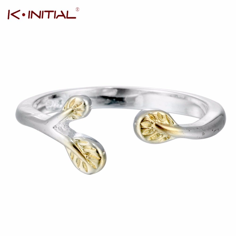 Kinitial 1pcs New Arrival 925 Sterling Silver Leaves Open Rings For Women  Hypoallergenic Silver Fashion Jewelry
