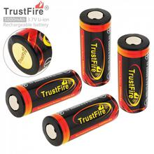 4 Pieces TrustFire 3.7V 26650 Rechargeable Battery 5000mAh Capacity Lithium Li-ion Batteries with Protected PCB for Flashlight