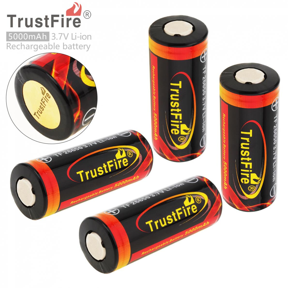 4Pieces TrustFire 3.7V 26650 Rechargeable Battery 5000mAh High Capacity Lithium Li-ion Battery with Protected PCB for Flashlight 2pcs trustfire 18650 rechargeable battery 3 7v 2400mah li ion lithium battery with protected pcb portable battery storage box