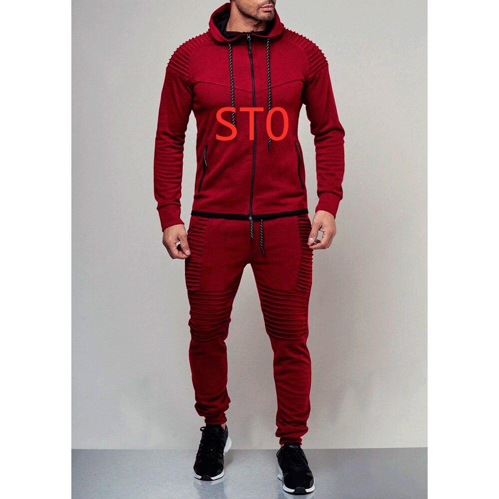 STO pour hommes ensembles printemps Hoodies survêtement printemps homme solide plissé Sweatshirts pantalons décontracté imprimer tout Logo ensembles pull