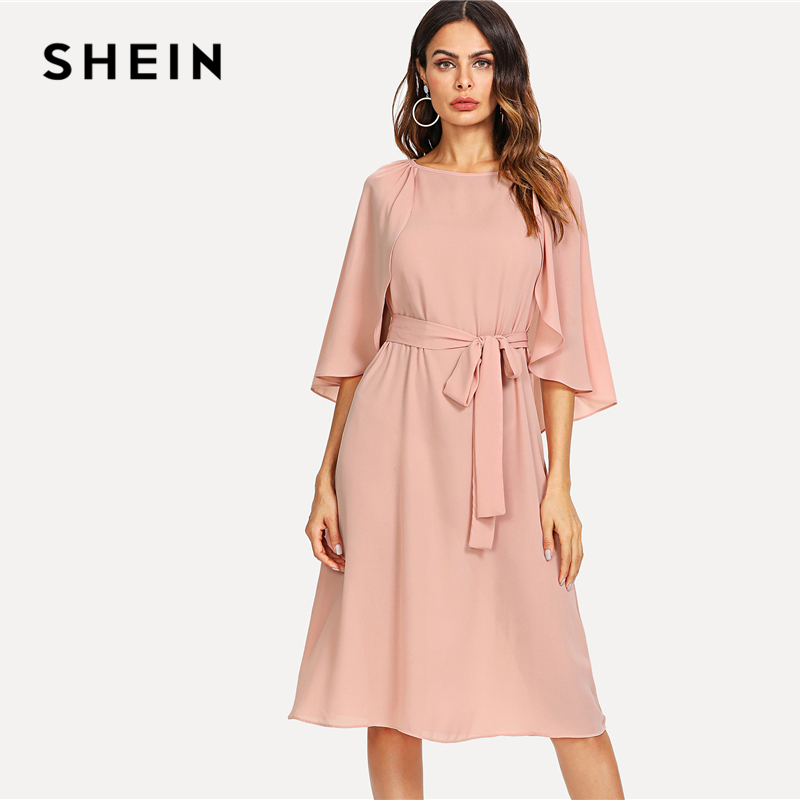 SHEIN Pink Elegant Cloak Sleeve Self Belted Knot Front Round Neck Natural Waist Knee Length Dress Summer Women Casual Dresses