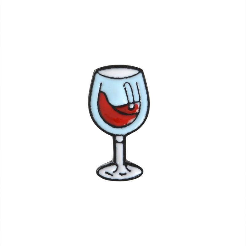 النبيذ حفلة بروش المينا دبوس الكرتون البيرة الصغيرة النبيذ الأحمر كوكتيل زجاجة و الزجاج دبوس زر قميص دينيم التلبيب دبابيس النساء الرجال هدية