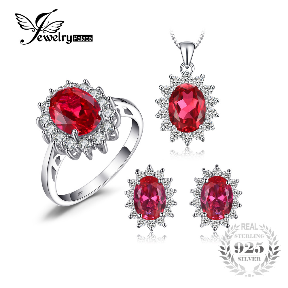 JewelryPalace Princess Diana Jewelry Engagement Wedding Pigeon Created Ruby Jewelry 925 Sterling Silver Ring Pendant Earring jewelrypalace princess diana jewelry engagement wedding created emerald jewelry 925 sterling silver ring pendant earring