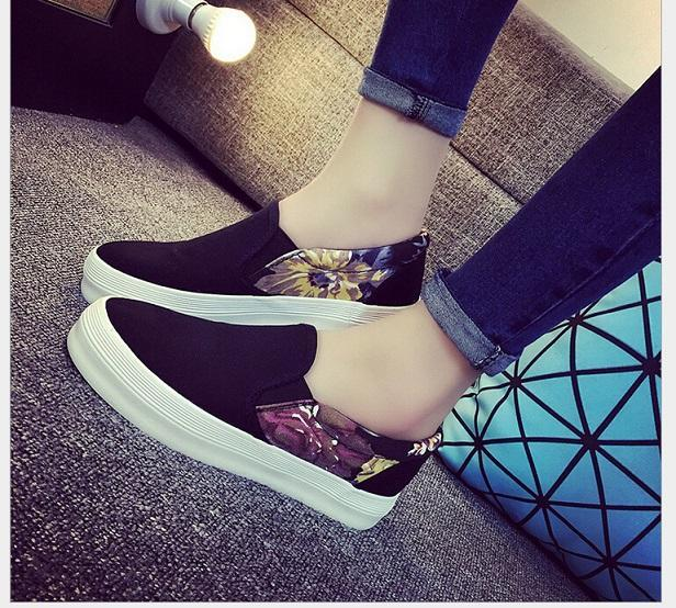 Женская Обувь 2016 мода Весна Осень холст обувь клинья платформы обувь Скольжения На женщин квартиры мокасины