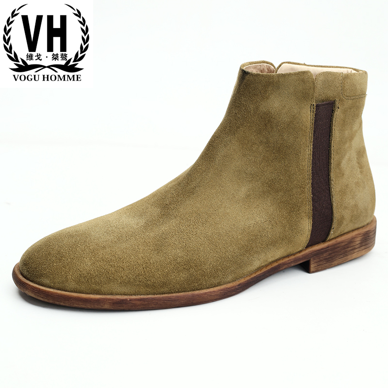 все цены на Genuine Leather mens Chelsea boots autumn winter British retro all-match cowhide military boots Martin boots men shoes leather онлайн