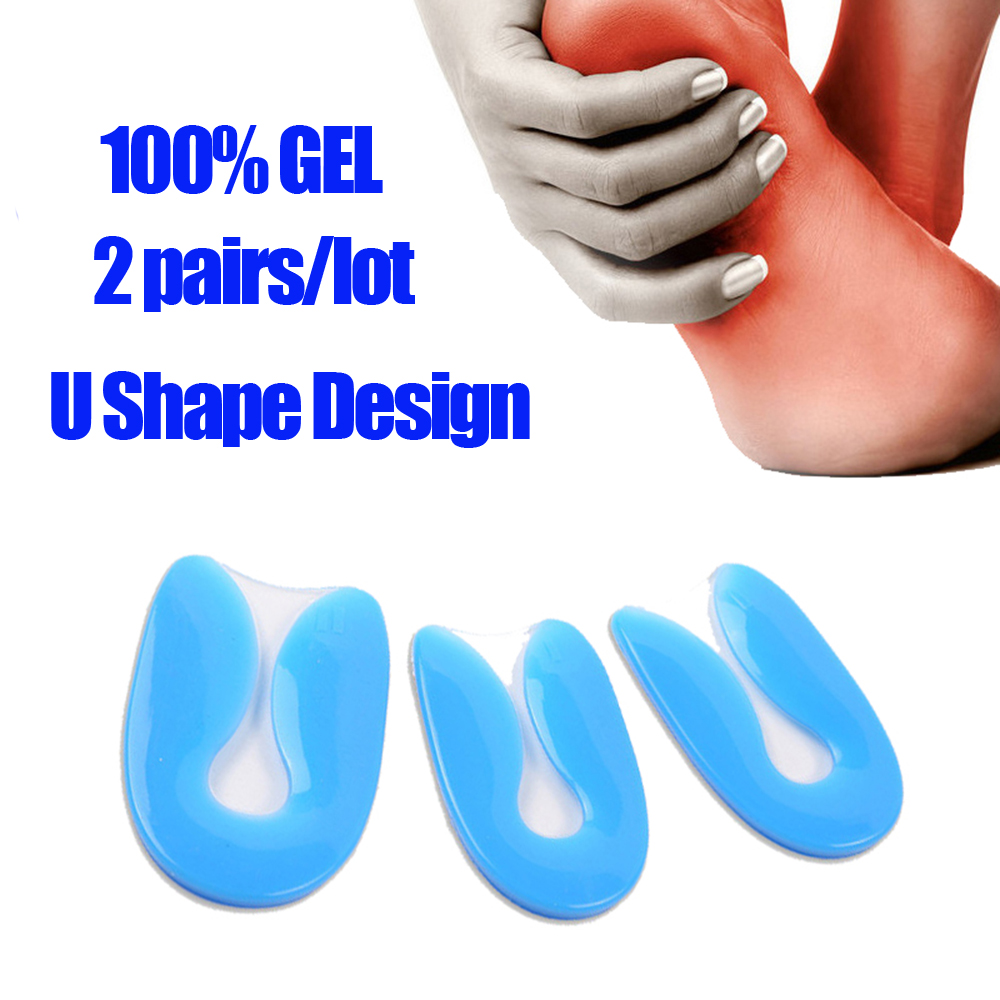2pair/lot  Gel U-Shape  Heel Cup Plantar Fasciitis Heel Protector Heel Spur Cushion Pad Shoe Inserts Insole for Men Women new fashion unisex soft rubber gel pain heel spur cup insoles support shoe cushion inserts for man shoe pad quality fm0994