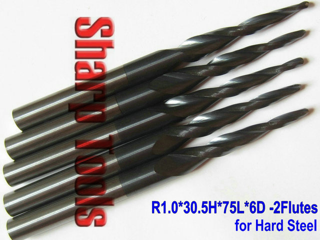 5pcs R1.0*30.5*75L*6D 2 Flutes Ball Nose Tapered End Mills for Good Relief, Imported Tungsten Steel, HRC55, ALTIN Coated