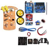 DIY Assembly Car Model 3D Smart Car R3+Vehicle Car Chassis Kits+2pcs Wheels+Ultrasonic Module Model Car Toy