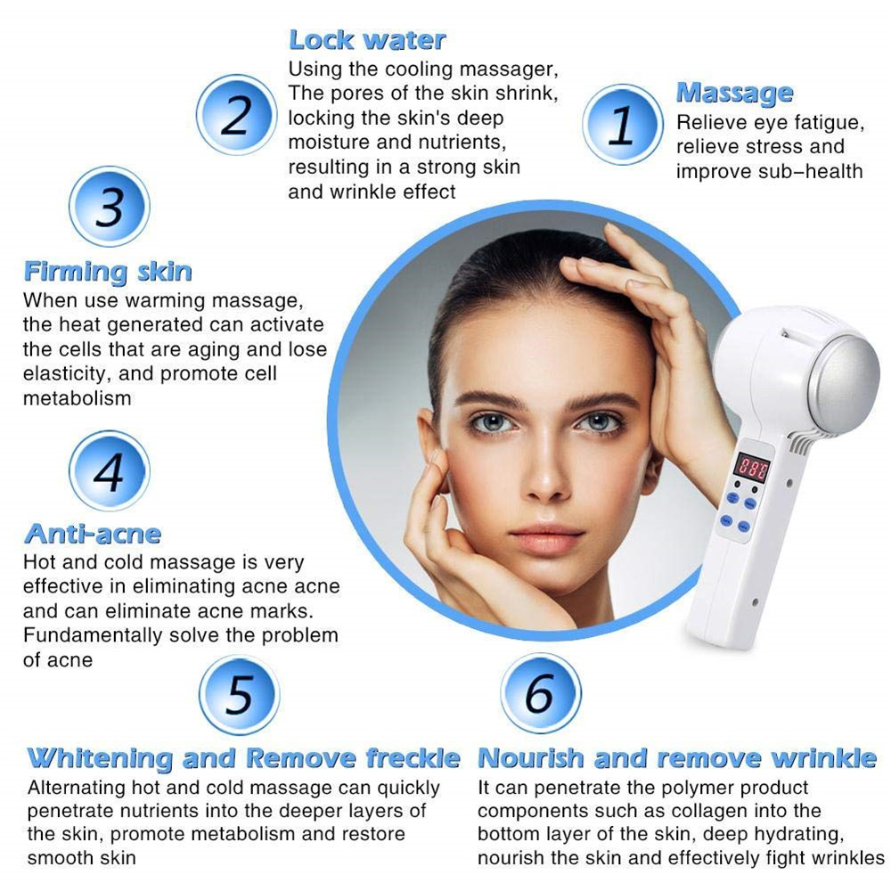 Face Beauty Massager Lifting Device Hot Cold Hammer Cryotherapy Blue Photon  Acne Treatment Skin Care Rejuvenation Facial Machine
