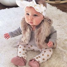 3pcs Newborn Baby Girls Clothes Long Sleeve Cotton Romper Gold Heart Pant Headband Outfit Toddler Kids