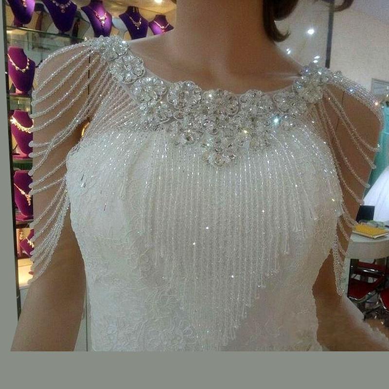 Perles sur mesure boléro vestes pour robes de soirée 2017 livraison gratuite boléro Mariage enveloppes de Mariage Novia pas cher châles de mariée