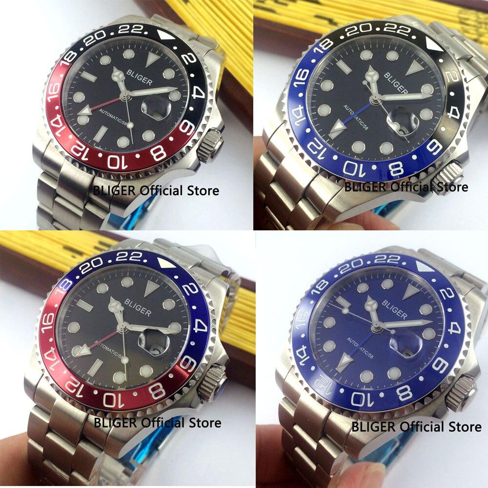 Vidro de safira BLIGER 43 MM Cerâmica Bezel GMT Função Relógio dos homens Movimento Automático Dos Homens de Aço Inoxidável Completa Relógios B2