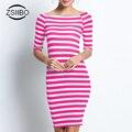 Мода Прямо Летние Платья Женщины Stripes Дамы Случайные Dress Шею Тонкий Основывая Платья Плюс Размер. LYQ57