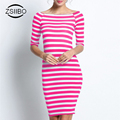 Fashion Straight Summer Dresses Women Stripes Ladies Casual Dress Round Neck Slim Bottoming Dresses Plus Size .LYQ57