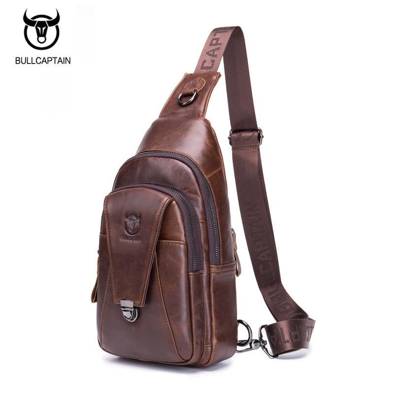 BULLCAPTAIN Genuine Leather Crossbody Bags for Men Messenger Chest Bag Packs Travel Single Shoulder Strap Pack 2018 New Fashion bullcaptain new arrival 100