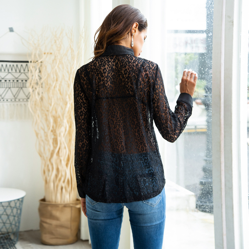 Women Lace Sheer Mesh Shirt Long Sleeve Sexy Blouse Bow Neck See through Women Lace Blouses Shirt Casual Elegant Office Shirt in Blouses amp Shirts from Women 39 s Clothing