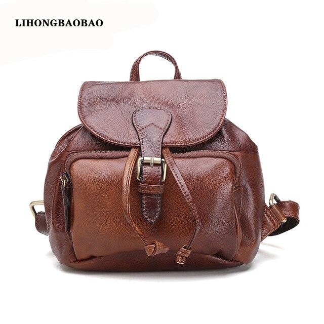d6ccc2d67d 2016 Women Genuine Leather Backpack Top Layer Leather Shoulder Bag Vintage  Elegant Back Bag Ladies Travel Rucksack Small Satchel