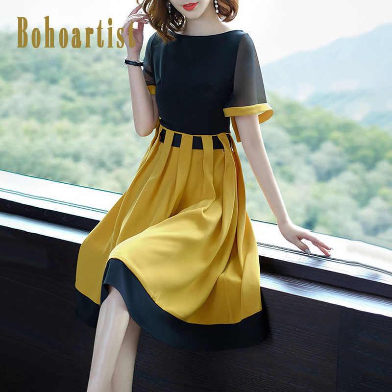 df82076bf198d4a Bohoartist/летнее женское платье с цветным блоком, с коротким рукавом, в  стиле пэчворк