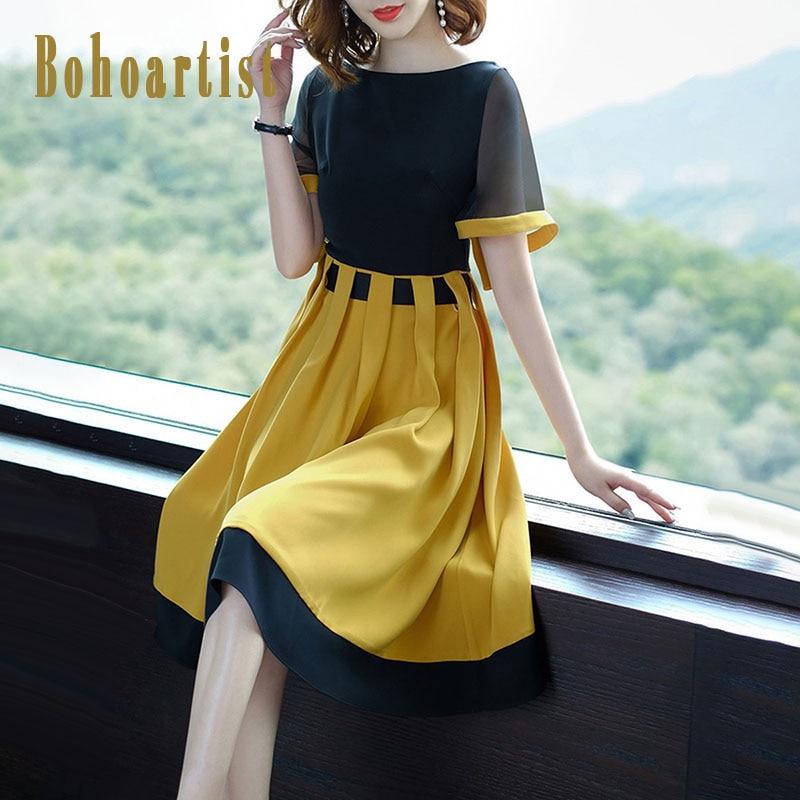 Bohoartist Summer Women Dress Color Block Short Sleeve Patchwork O Neck Yellow Dress A Line 2018 Elegant Casual Dresses For Girl
