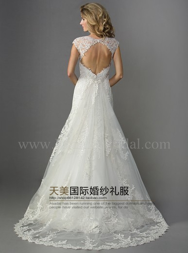 free shipping a line beading 2014 new sexy backless appliques casamento vestido de noiva curto lace wedding dress Bridal Gown in Wedding Dresses from Weddings Events