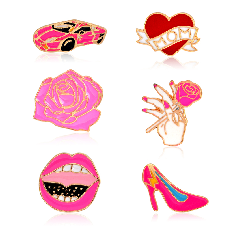 1 Pcs Metal Car Heart Rose Mouth Lips High-heeled Shoes Brooch Pins For Women Bag Jacket Collar Lapel Badge Pin Button Jewelry