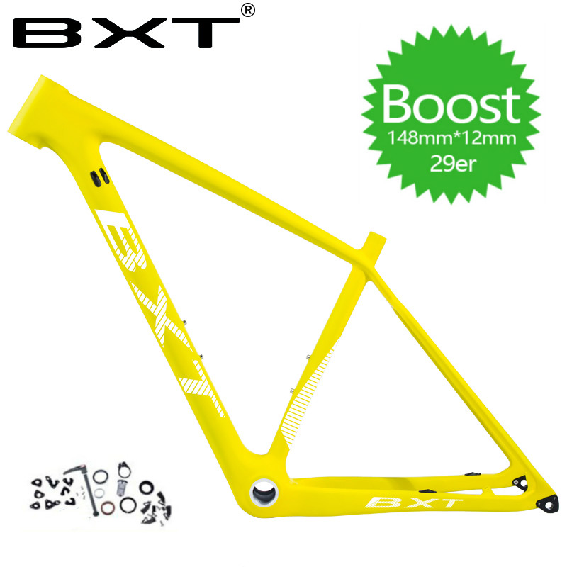 BXT 2019 Carbon MTB Frame 29er Carbon Mountain Bike Frames BSA Compatible With 148/142*12mm Thru Axle And 135*9mm QR