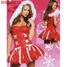 XB13 2018 Sexy Christmas Costume Red With White Wetlook Faux Leather Exotic Costume Cosplay Halloween Uniform With White Fur Hat spiral style plush christmas hat red white