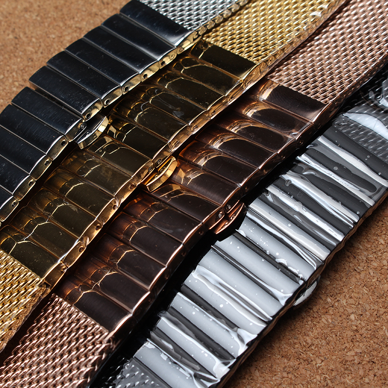 18mm 20mm 22mm 24mm Watchband Silver Gold Rose gold Black Wristwatch band strap butterfly buckle deployment fashion mesh belt