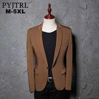 Pyjtrl nueva m-5xl marea marrón Caballero traje cantante etapa hombres blazer hombre slim fit diseños moda casual formal Blazers