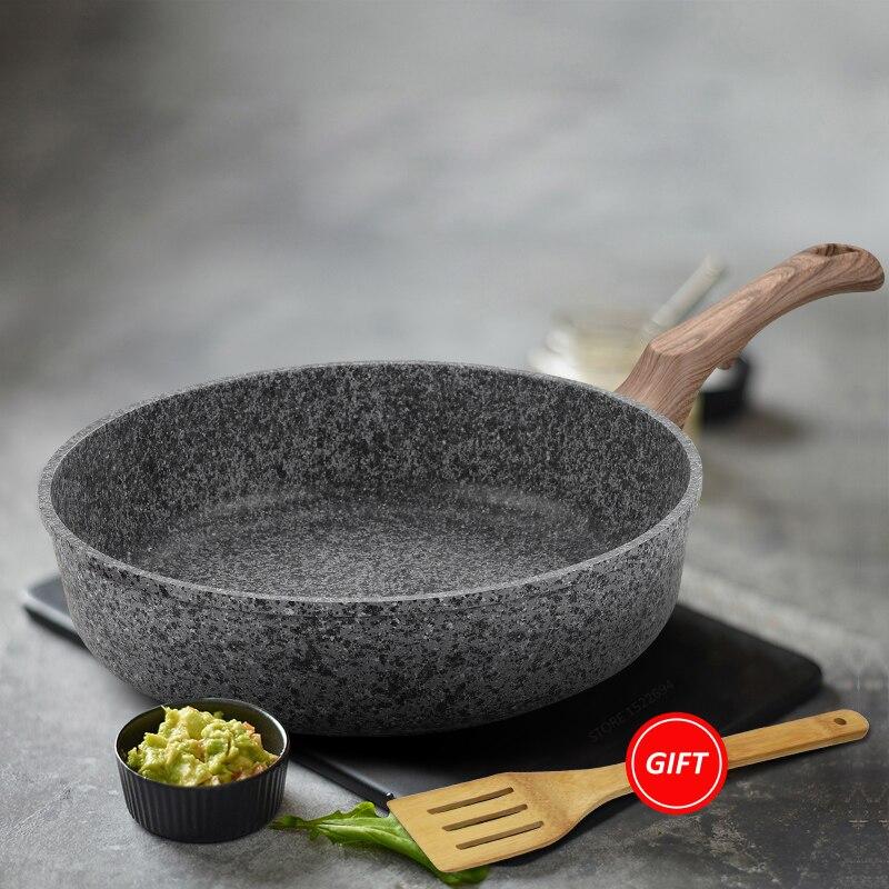 Poêle de cuisine sans couvercle revêtement antiadhésif pierre dérivé casserole lave-vaisselle four Induction plaque de cuisson poêle sûre